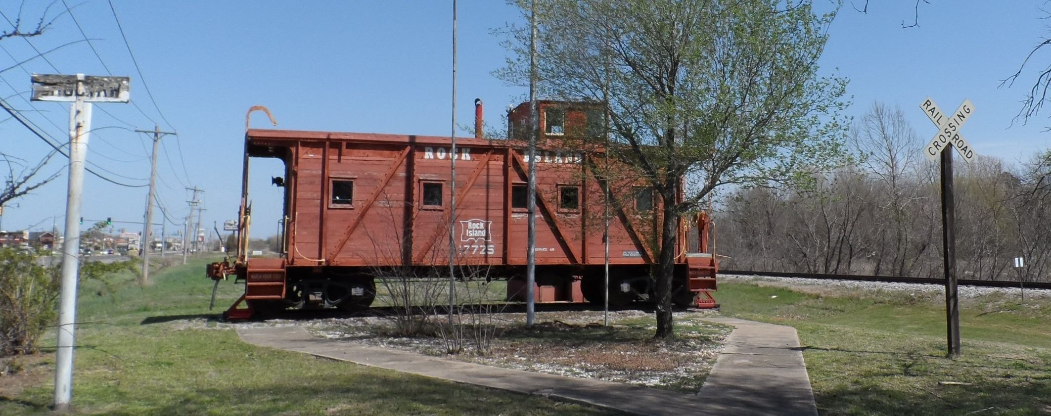 Rock Island caboose long view from parking area