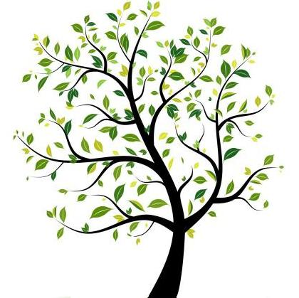 clipart image of a wistful tree with small green leaves
