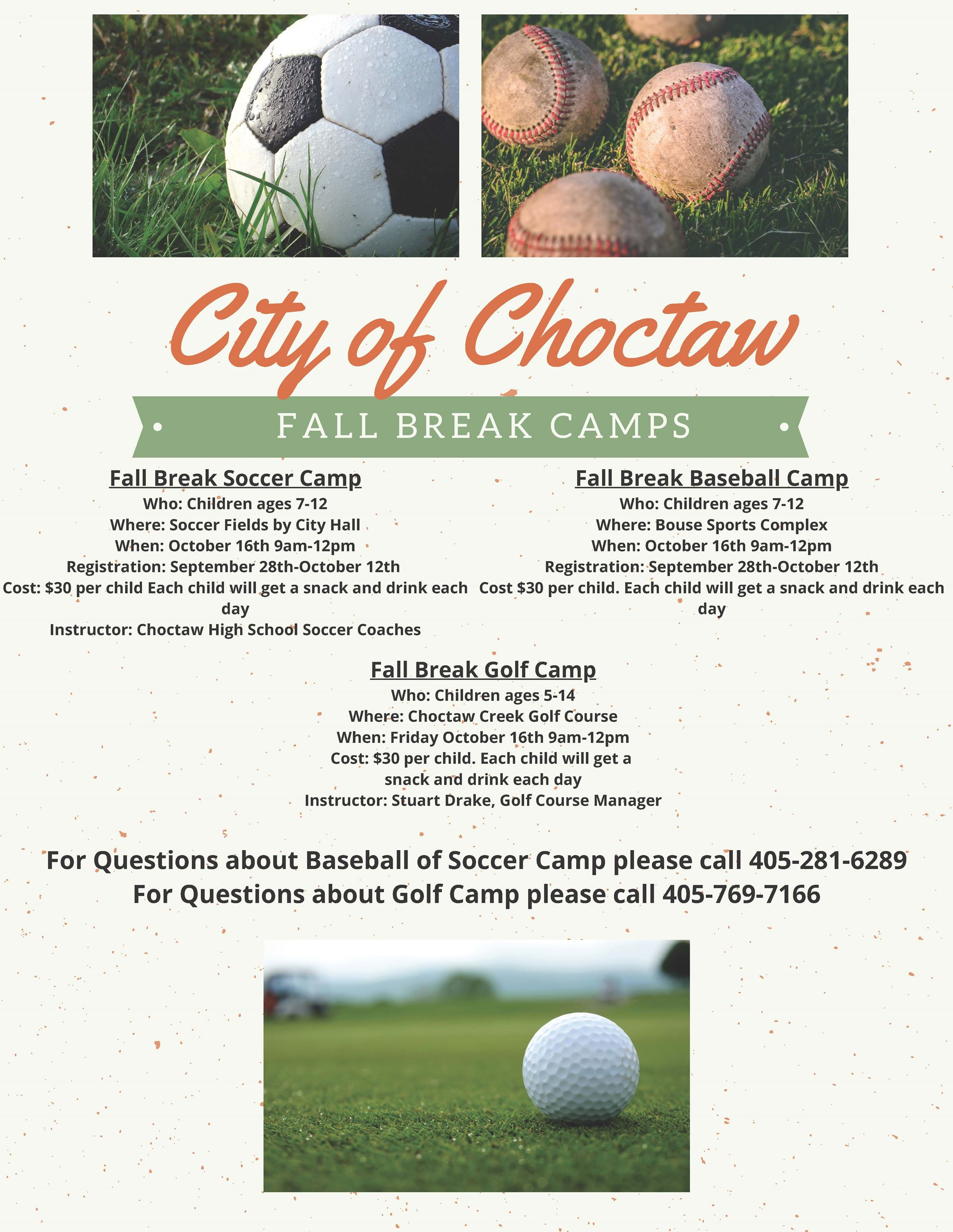 2020 Fall Break Youth Camps