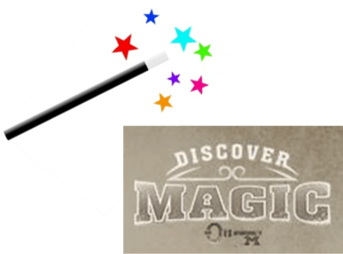 Discover Magic logo with wand and sparkles