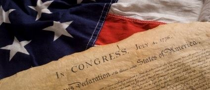 declaration of independence with flag