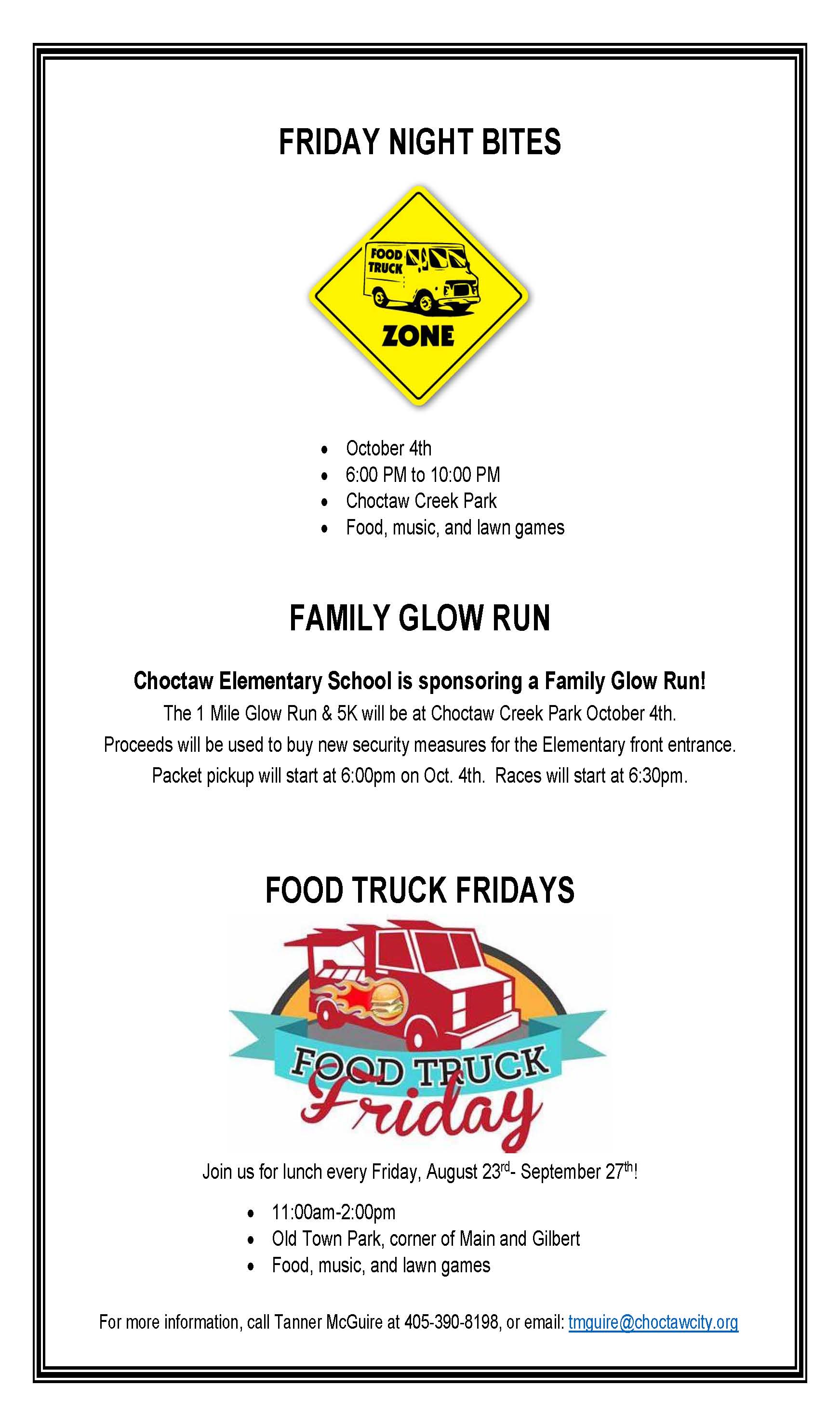 FridayNightBites-CEGlowRun-FoodTruckFridays combo flyer Opens in new window